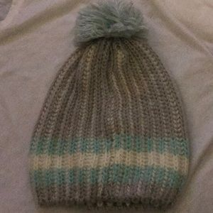Gray, Blue, & White Beanie
